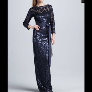 Tadashi Shoji Belted Sequin-Lace Gown Dress Navy